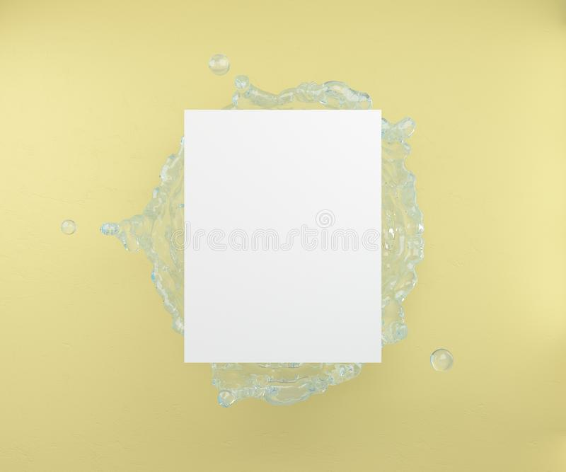 An empty leaf on a background of water splashes and a yellow wall.3D rendering. stock illustration