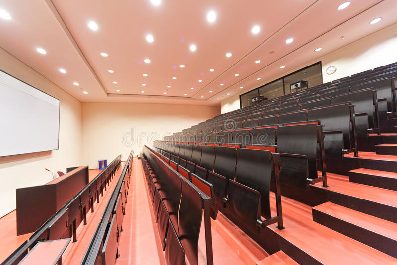 Empty lecture hall in University stock images