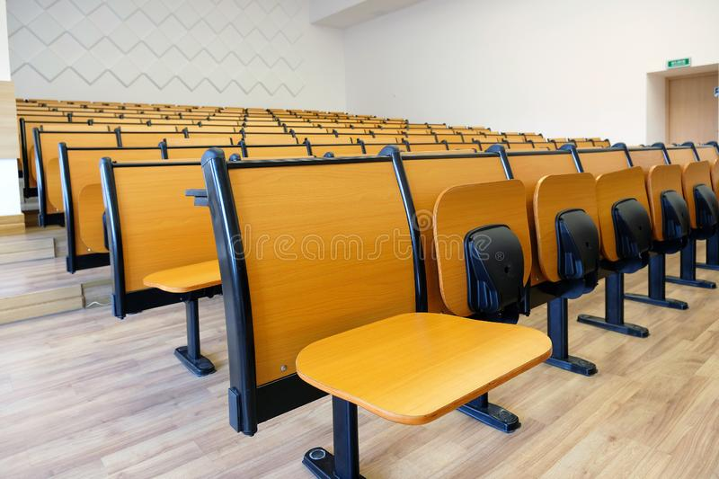 Empty lecture hall at university royalty free stock photos