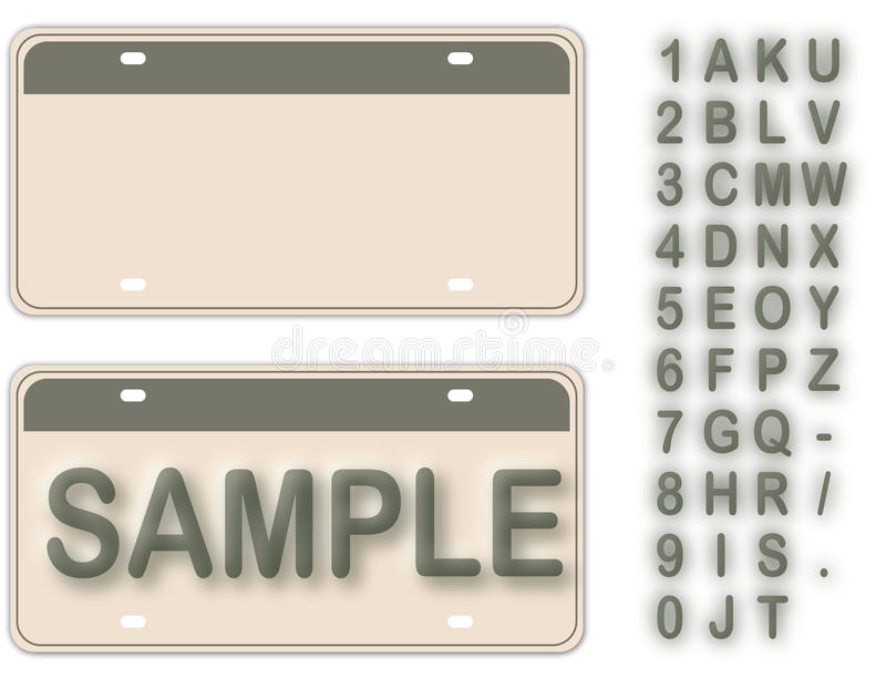 Empty License Plate. With Editable Live Texts vector illustration