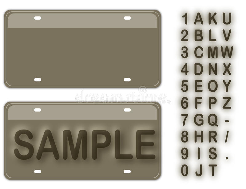 Empty License Plate. With Editable Live Texts royalty free illustration