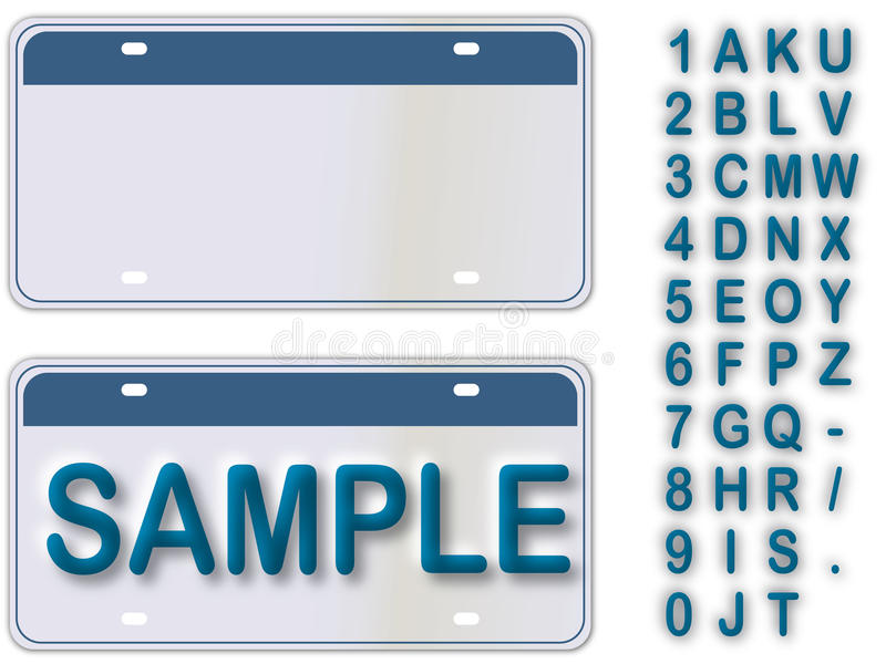 Empty License Plate With Editable Live Text vector illustration