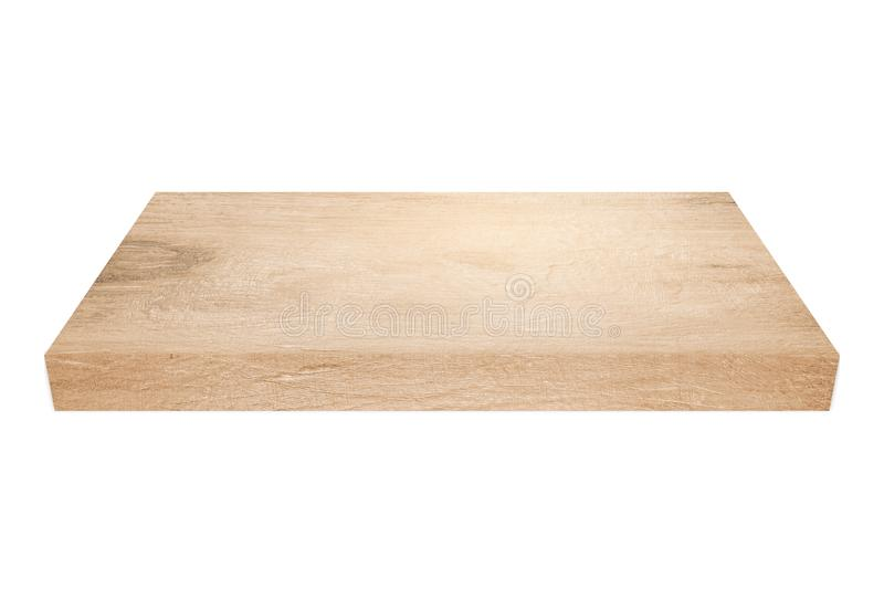 Empty light brown wood shelf on white background. With clipping path stock photos