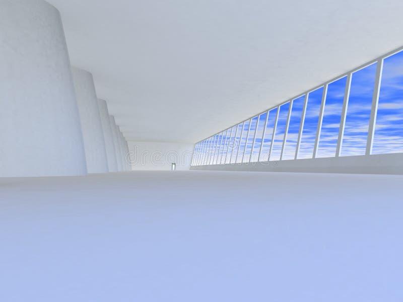 Empty light toned hall in modern building vector illustration