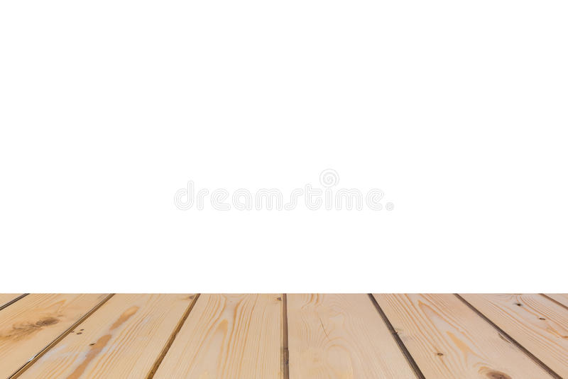 Empty light wood table top isolate on white background royalty free stock photography