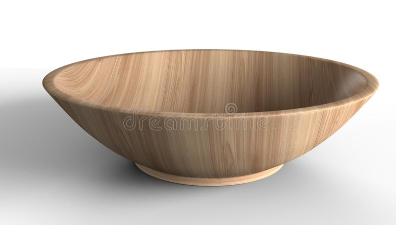Empty light wooden bowl isolated from white background. for food stock image