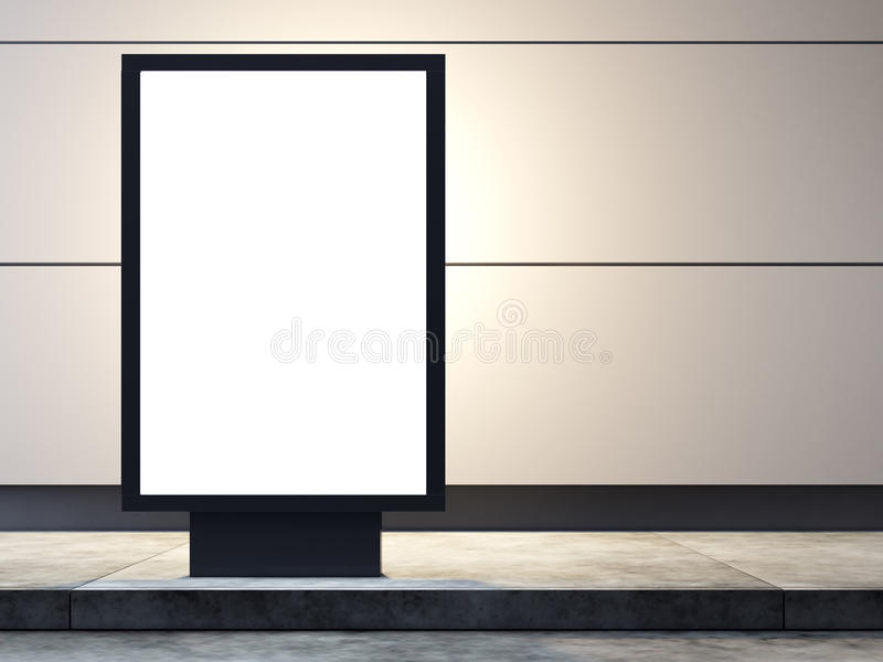 Empty lightbox on the street. Concrete wall stock images
