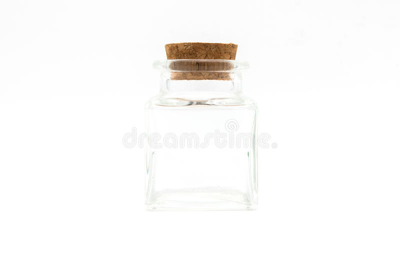 Empty little bottles with cork stopper isolated on white background royalty free stock photos