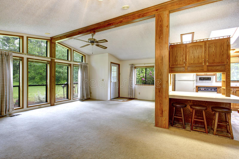 Empty living room in farm house stock photography