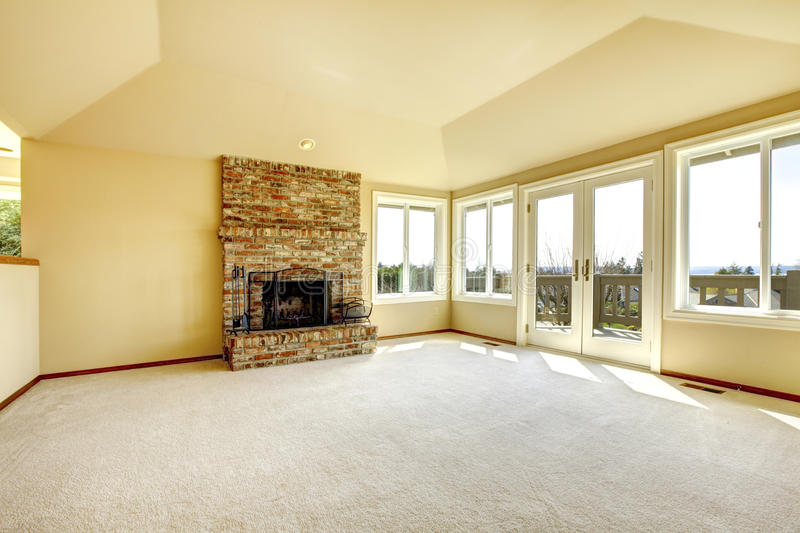 Empty Living Room With A Fireplace Stock Image Image of estate