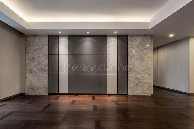 Empty living room in grey color royalty free stock image