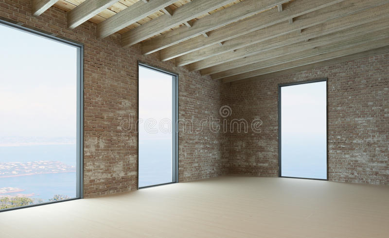 Empty living room interior with brick wall royalty free illustration