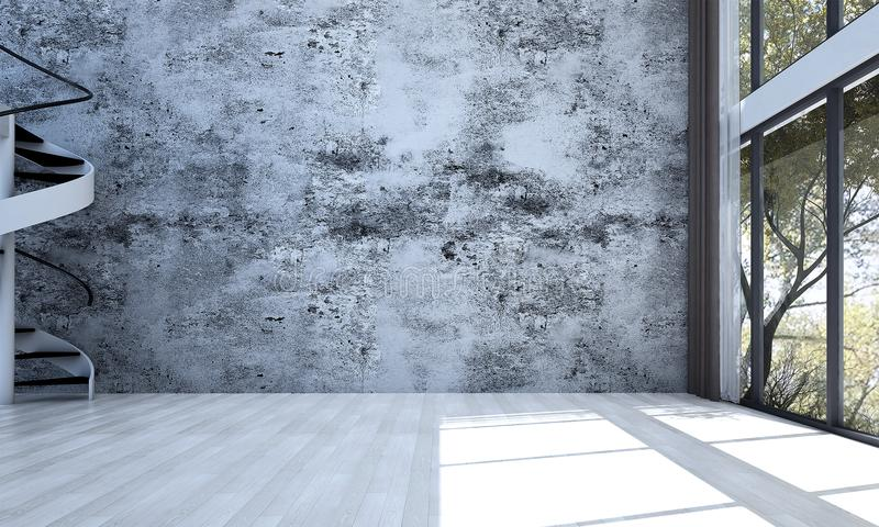 The empty living room interior design and concrete wall pattern background stock images