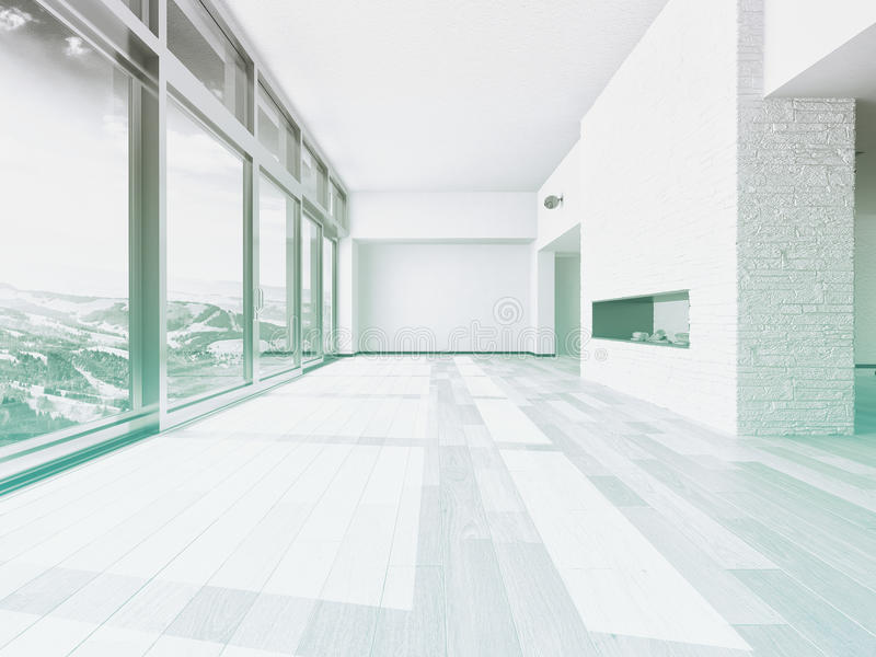 Empty living room interior with large window royalty free stock photography