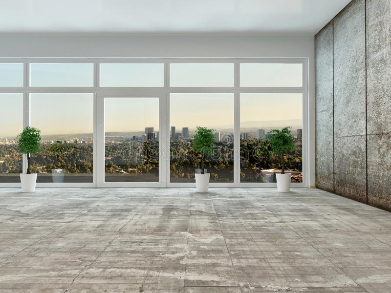 Empty Living Room Interior With Panoramic View Stock
