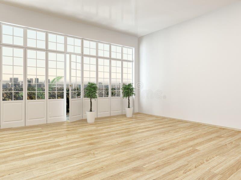 Empty living room interior with parquet floor stock illustration
