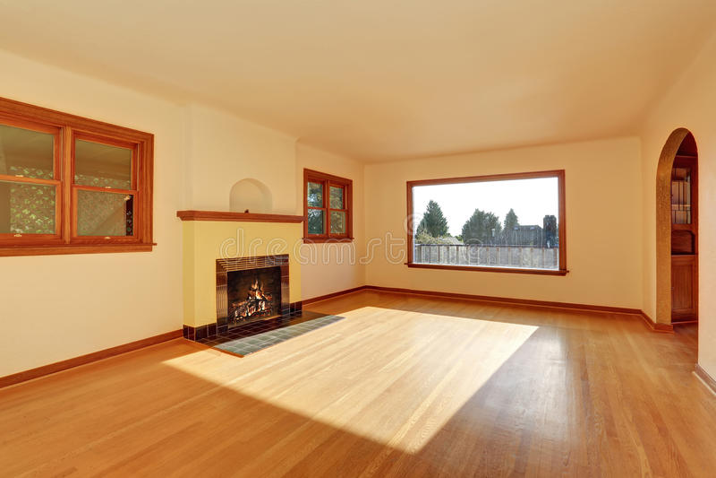 Empty Living Room Interior With Wooden Trim Hardwood Floor And