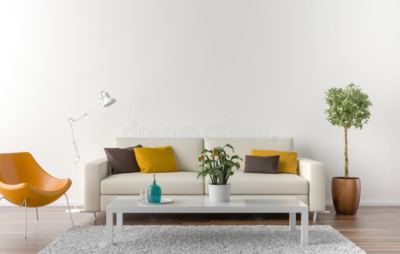 Empty Living Room With White Wall In The Background Stock