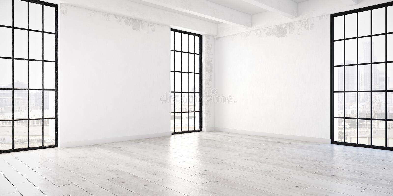 Empty loft apartment. 3d rendering stock photos