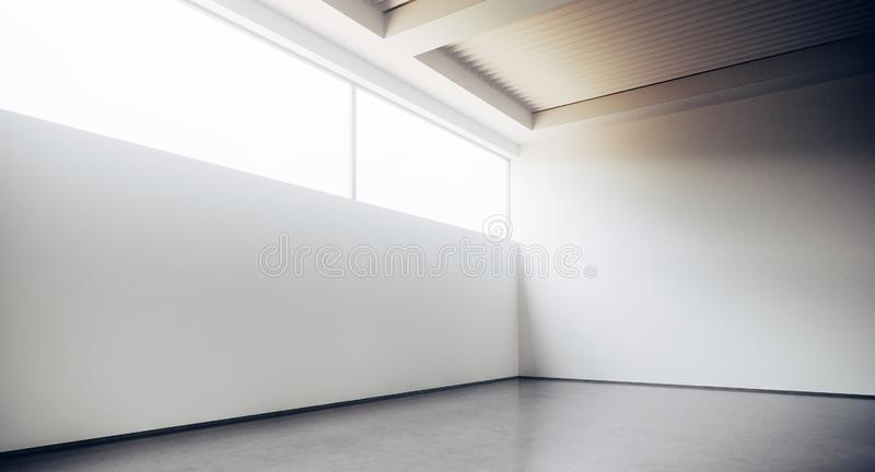 Empty loft style office building corridor with white concrete walls and floor. Concept of interior design and stock illustration