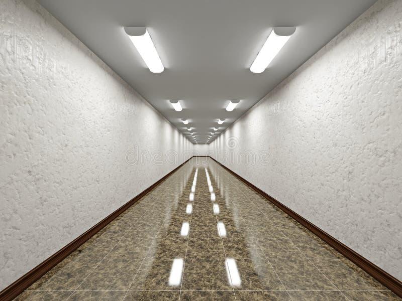 Download The empty long corridor stock illustration. Image of light - 32055482