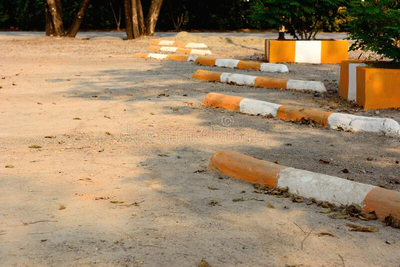 The empty lot parking on dirty gravel. Covered ground stock images