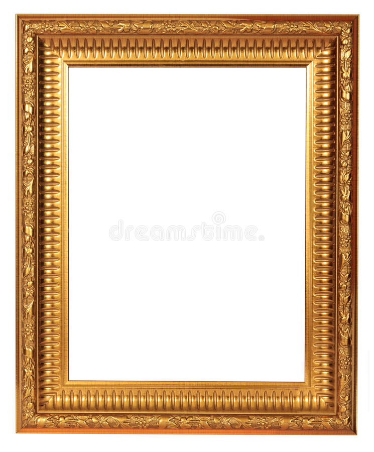 Empty Luxury Golden Wooden Frame Stock Photo - Image of edge ...