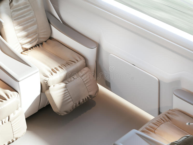 Empty luxury passenger train or bus interior with grey seats. closeup side view, mockup of tv screen. 3D rendering. Empty luxury passenger train or bus interior stock illustration