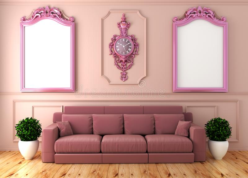 Mock up Empty luxury room interior with pink sofa in room pink wall on wooden floor. 3D rendering. Empty luxury room interior with pink sofa in room pink wall on royalty free illustration