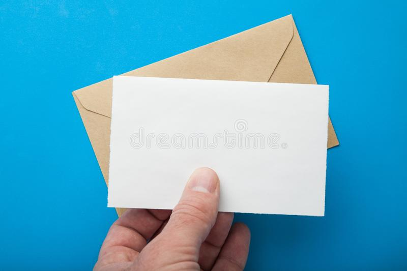 Empty mail in your hand. Mock up royalty free stock image