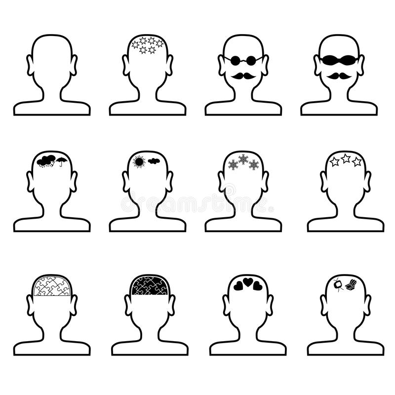 Empty mans heads outline vector illustration