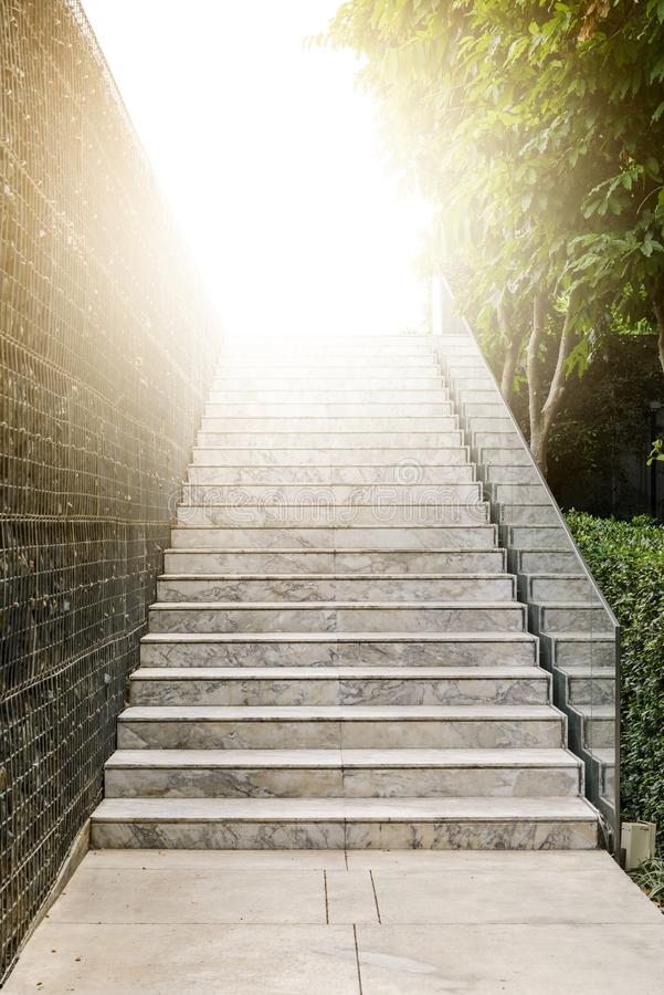 Empty marble stair with sunlight - Outdoor modern architecture.  stock photo