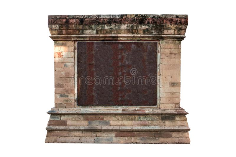 Empty marble texture with old antique stone vintage frame on the white background. royalty free stock photography
