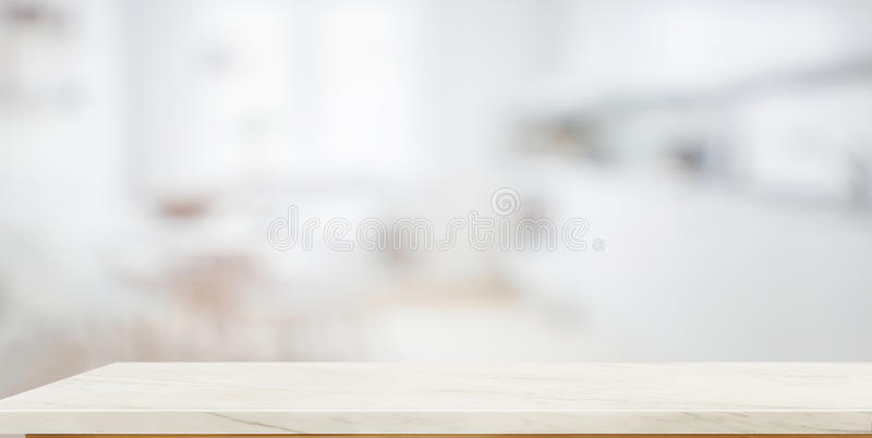 Empty marble top table for product display montage with blurred bathroom royalty free stock images