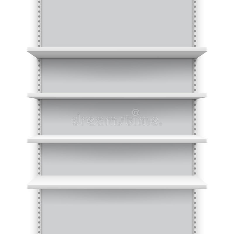 Empty market retail stand with shelves for products, store display vector mockup royalty free illustration