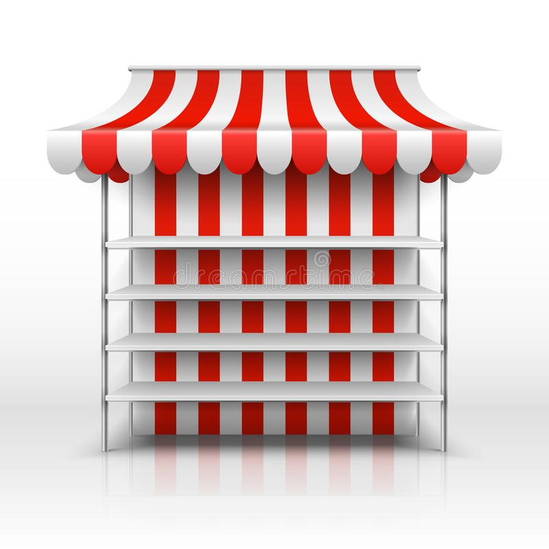 Empty market stall. Kiosk with striped awning vector template royalty free illustration