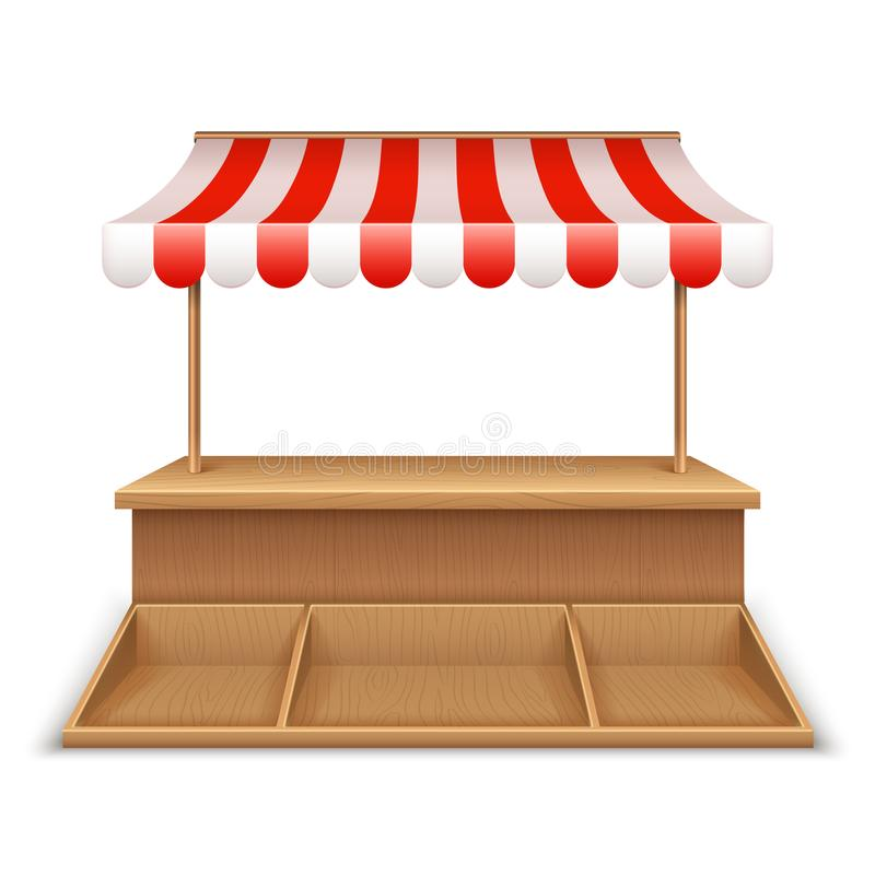 Empty market stall. Wooden kiosk, street grocery stand with striped awning and counter desk template royalty free illustration