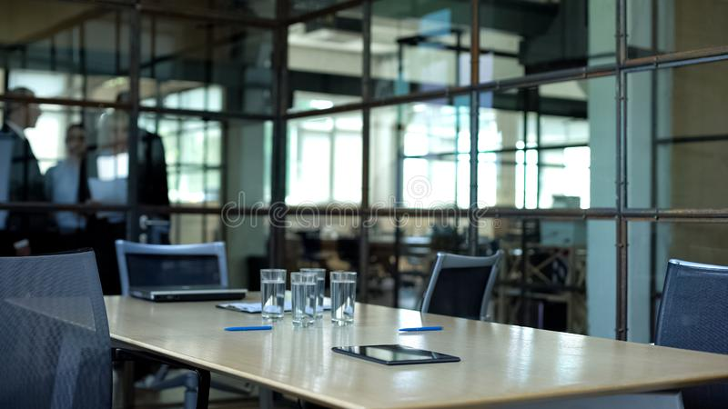 Empty meeting room in company office before team briefing, business negotiation stock photography