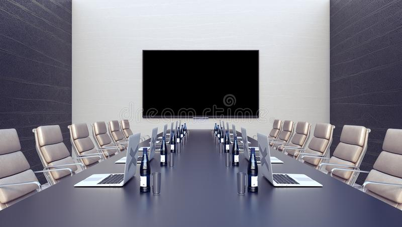 Empty meeting room and conference table with laptops 3d render 3d illustration vector illustration