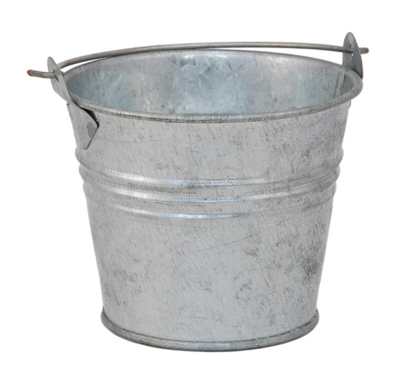 Empty metal bucket royalty free stock photos