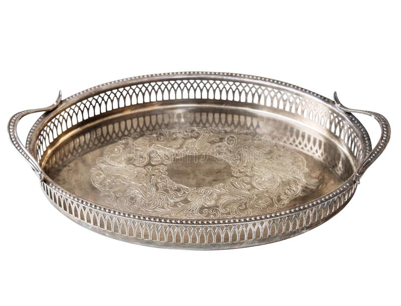 Empty metal old Antique silver tracery tray isolated on white background. Retro style.  stock images