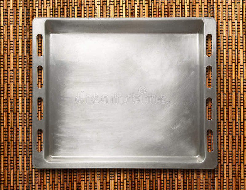 Empty metal oven tray royalty free stock image