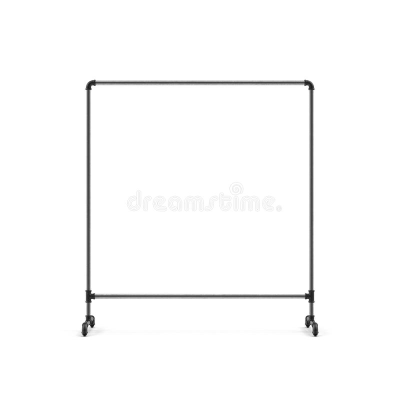 Empty Metall Clothing Display Rack on white. 3D illustration. Empty Metall Clothing Display Rack on white background. 3D illustration royalty free stock image