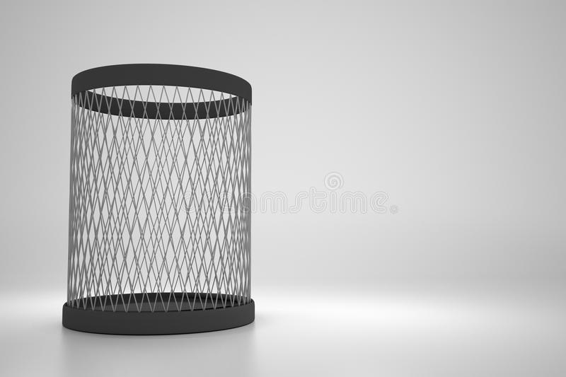 Empty metallic recycle bin on gray background stock illustration