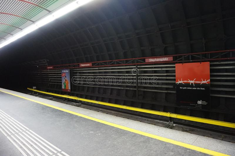 Empty metro station. Empty metro station in Vienna stock photo
