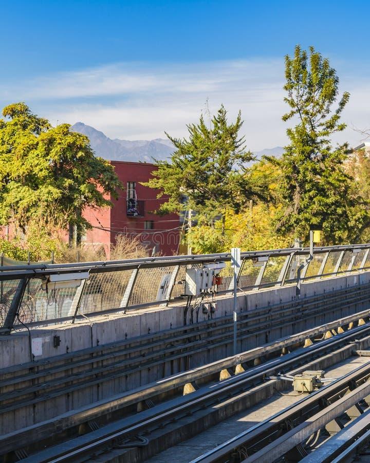 Metro Line Exterior, Santiago de Chile. Empty metro train railway exterior view at santiago de chile city, chile stock photos