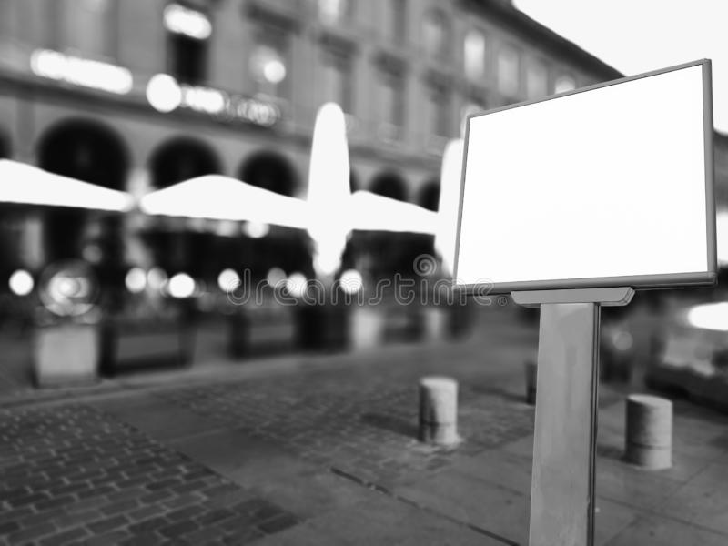 Empty mockup from white board on street background. Empty mockup from white board on background on town street royalty free stock photos