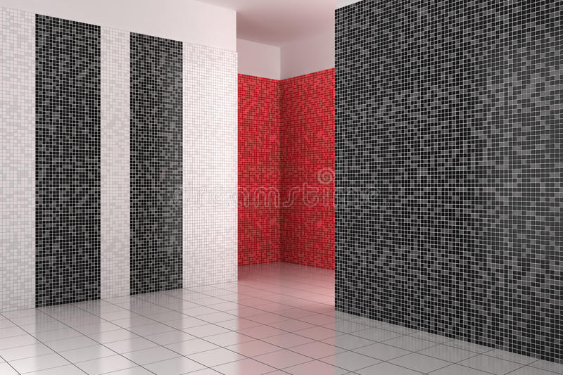 Empty modern bathroom with black, white and red tiles stock illustration