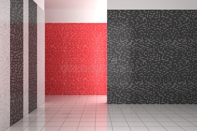 Empty modern bathroom with black, white and red tiles vector illustration