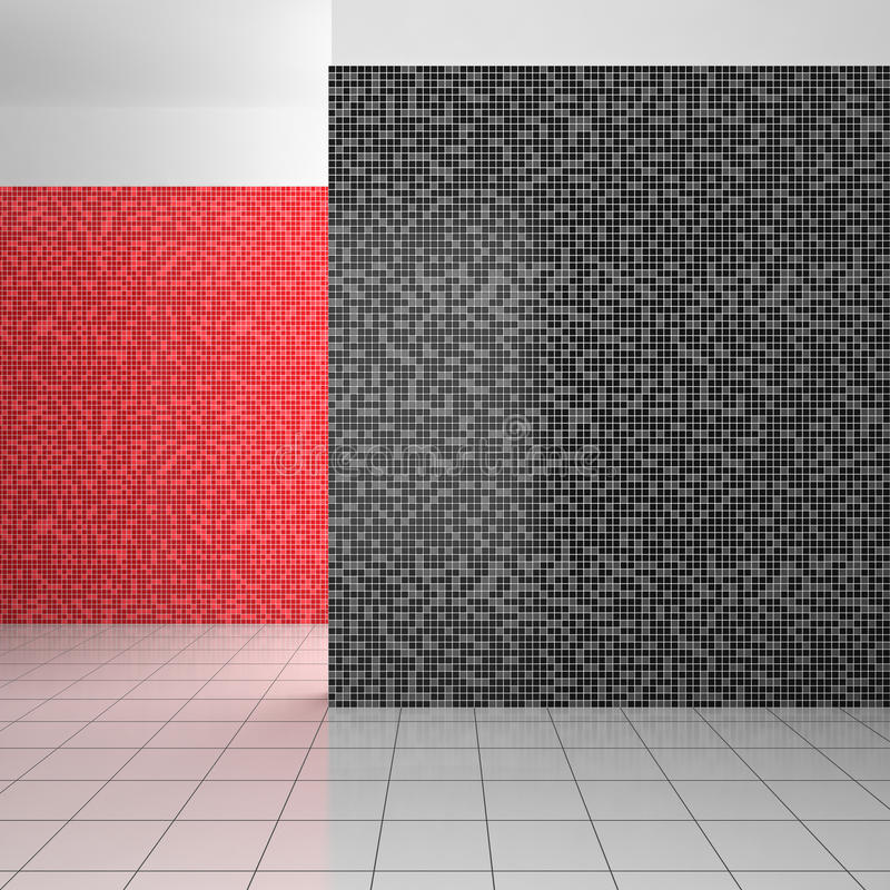 Empty modern bathroom with black, white and red tiles. Empty modern bathroom with mosaic tiles in black, white and red color royalty free illustration
